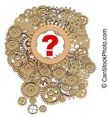 3d, -, 脳, 質問, 心理学, あなたの, ギヤ, 何か, 印, 心, レンダリング