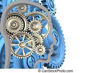 3d, 藍色, 齒輪