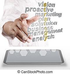 3d, 言葉, 関係した, ビジネス戦略