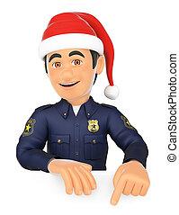 3d, 警官, 指すこと, 下方に, ∥で∥, a, サンタクロース, hat., 余白