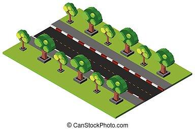 3d, 设计, 为, 空, 道路, 同时,, 人行道