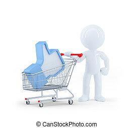 3D, 買い物, カート, 人