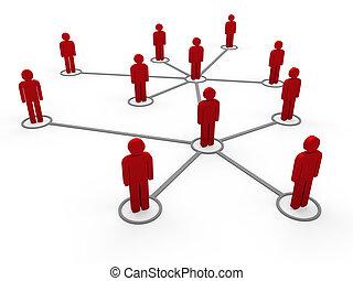 3d, 赤, ネットワーク, チーム