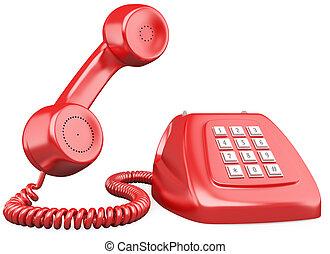 3d, 赤, 作られる 古い, スタイル, 電話