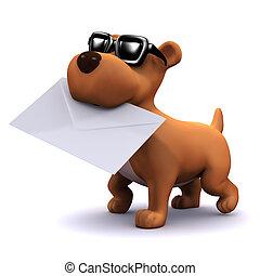 3d, 邮件, 携带, 小狗, 狗