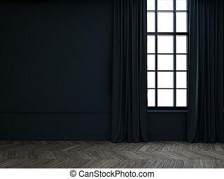 3d, 部屋, カーテン, 空