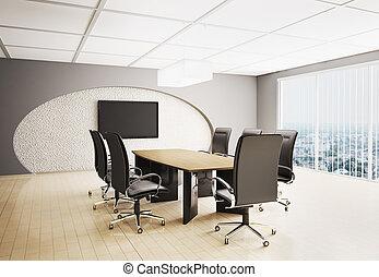 3d, 部屋, 会議, lcd