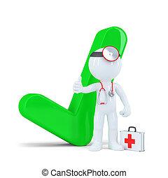 3d, 醫生, 由于, 綠色, checkmark