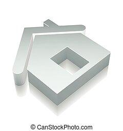 3d, 金屬, 家, 圖象, 由于, 反映, 矢量, illustration.