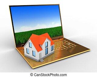 3d, 金色, 计算机, 同时,, 房子