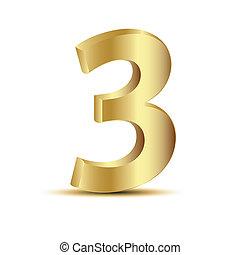 3d, 金, 3, アイコン