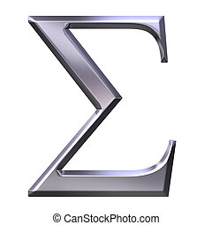 3d, 銀, ギリシャ語, 手紙, シグマ