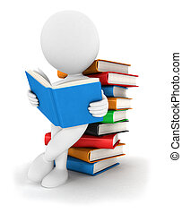 3d, 阅读, 书, 白色, 人们