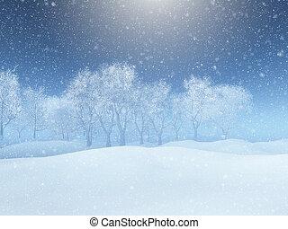3d, 雪の景色, 冬