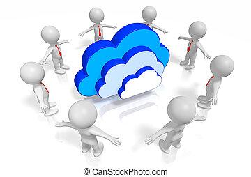 3d, 雲, 概念