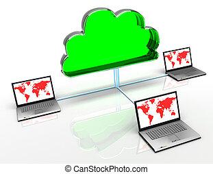 3d, 雲, 計算, 概念, 在懷特上, 背景