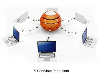 3d, 電腦網路, 由于, 中央, 中心, 服務器