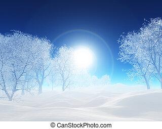 3d, 風景, 冬の 木, クリスマス