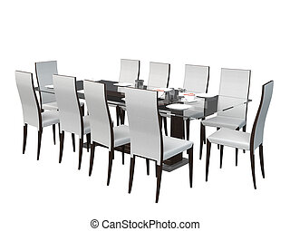 3d, 食事をする, 家具, 部屋, レンダリング