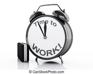 3d, 鬧鐘, 由于, 詞, 時間, 為了工作, 上, 它, face.