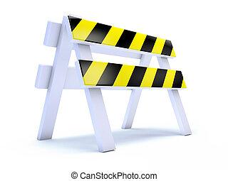 3d, 黃色, 有條紋, 路工作, 障礙物