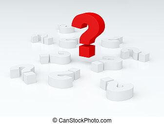 (3d, 크게, 위의, 질문,  render), 표, 있는 것, 기호, 백색, 빨강