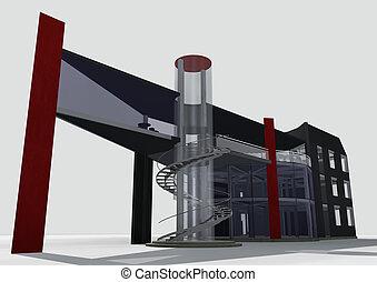 3d 0ffice building - 3d architectural model