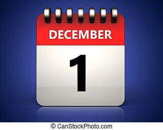3d 1 december calendar - 3d illustration of 1 december...