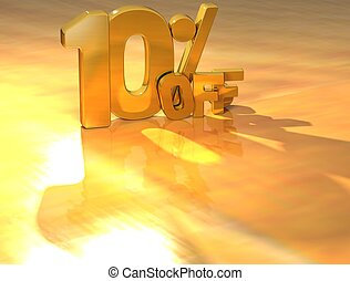 3D 10 Percent Gold Text over yellow background