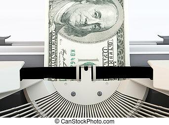 3d 100 dollar money typewriter Close up