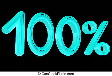 "3d ""100"" - hundred percent on a black background"