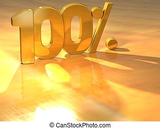 3D 100 Percent Gold Text over yellow background