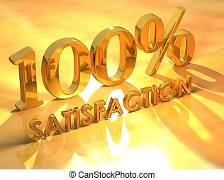 100% Satisfaction - 3D 100% Satisfaction on yellow...