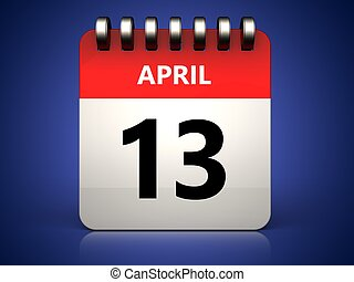 3d 13 april calendar - 3d illustration of 13 april calendar...