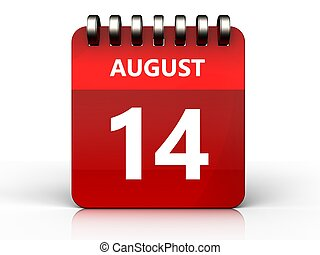 3d 14 august calendar - 3d illustration of august 14...