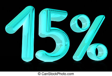 "3d ""15"" - fifteen percent on a black background"
