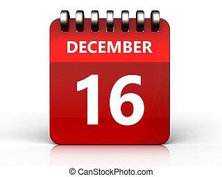 3d 16 december calendar - 3d illustration of december 16...