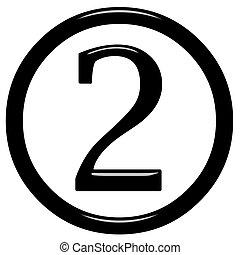 3d, 2, número, encuadrado