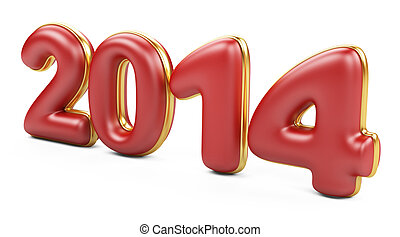 3D 2014 year red figures with golden edging