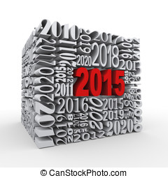 3d 2015 new year cube