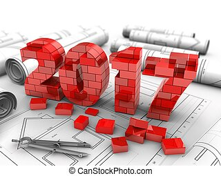 3d 2017 year - 3d illustration of 2017 year over drawings...