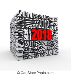 3d 2018 new year cube - 3d rendering of cube shape created...