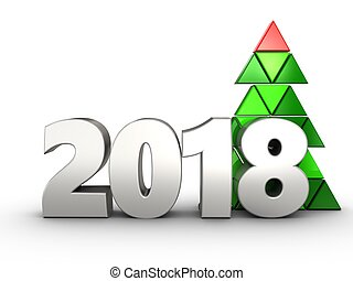 3d 2018 year silver sign