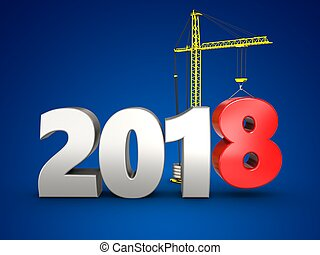 3d 2018 year silver sign - 3d illustration of 2018 year...