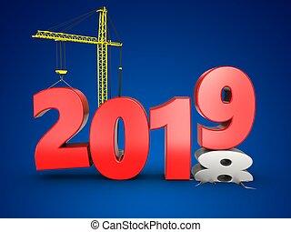 3d, 2019, año, con, grúa