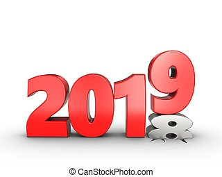3d 2019 year sign - 3d illustration of 2019 year sign over ...