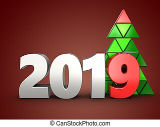 3d 2019 year silver sign