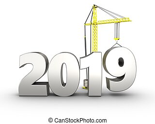 3d 2019 year silver sign - 3d illustration of 2019 year ...