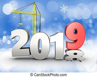 3d illustration of 2019 year with crane over snow background