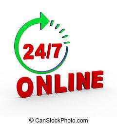 3d 24 hours 7 days online - 3d illustration of concept of...